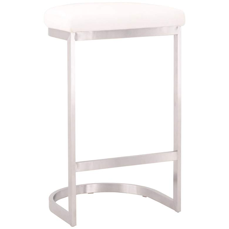 "Cresta 26 1/2"" Pearl and Stainless Steel Counter Stool"