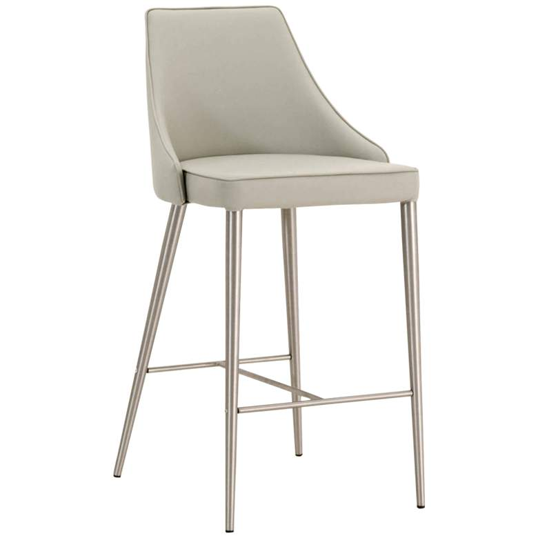 """Ivy 30"""" Light Gray Leather and Stainless Steel Bar Stool"""