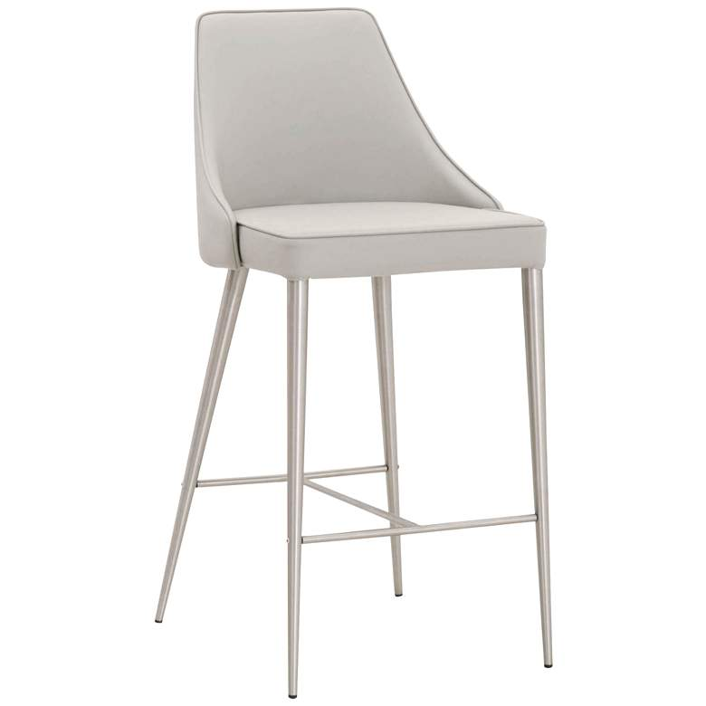 """Ivy 26"""" Light Gray Leather and Stainless Steel Counter Stool"""