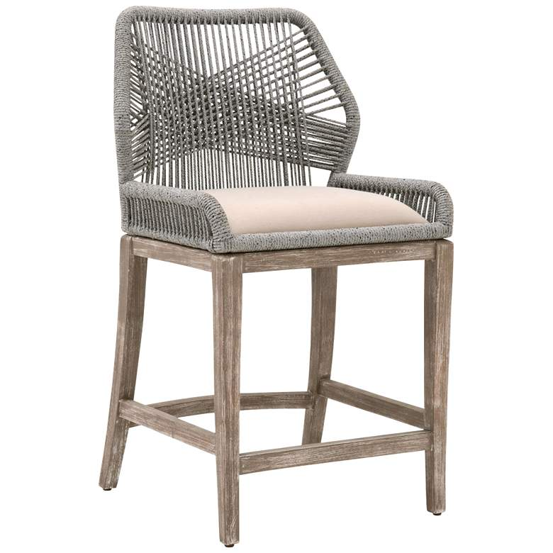 "Loom 26"" Platinum Rope and Stone Wash Counter Stool"
