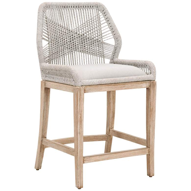 """Loom 26"""" Taupe White Rope and Natural Gray Counter Stool"""