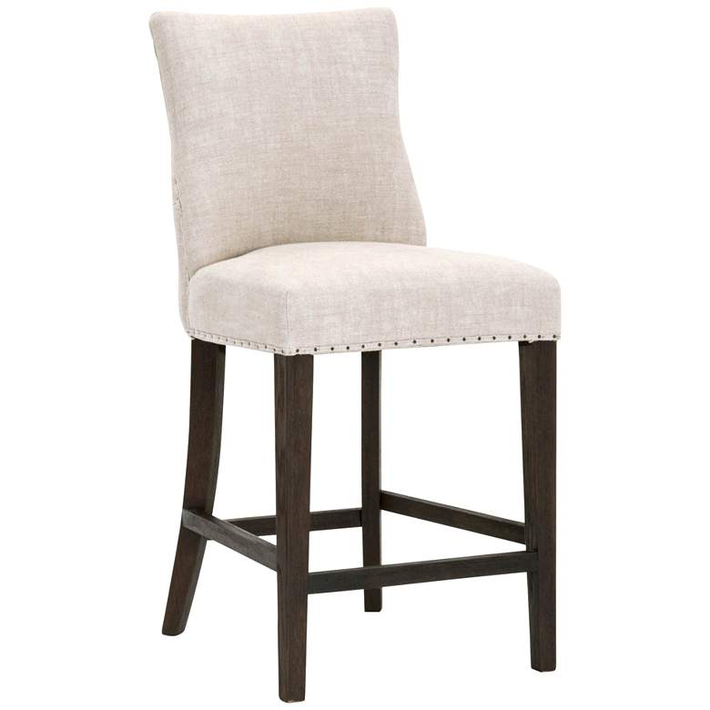 "Lourdes 26 1/2"" Bisque French Linen Tufted Counter Stool"