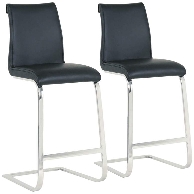 """Milo 26"""" Black Synthetic Leather Counter Stools Set"""