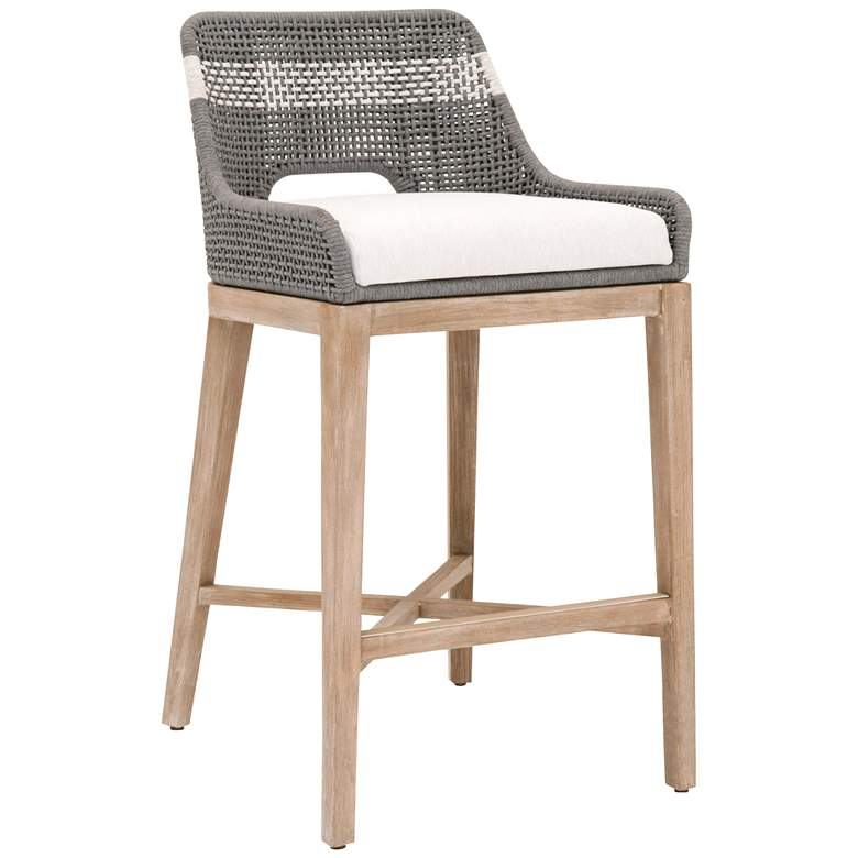 """Tapestry 31"""" Dove Flat and White Rope Wood Bar Stool"""