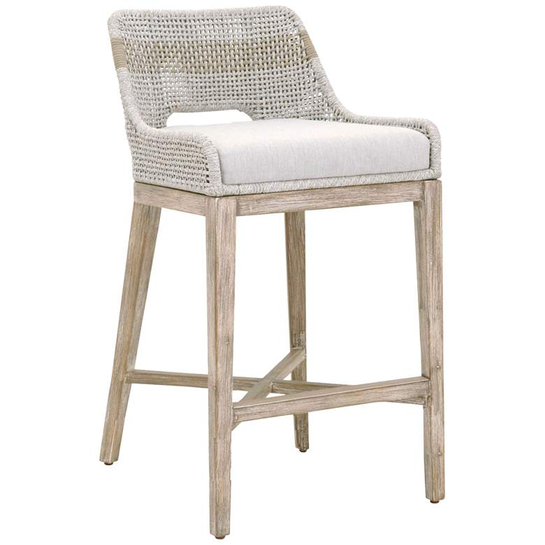 """Tapestry 31"""" Taupe and White Rope Wood Bar Stool"""