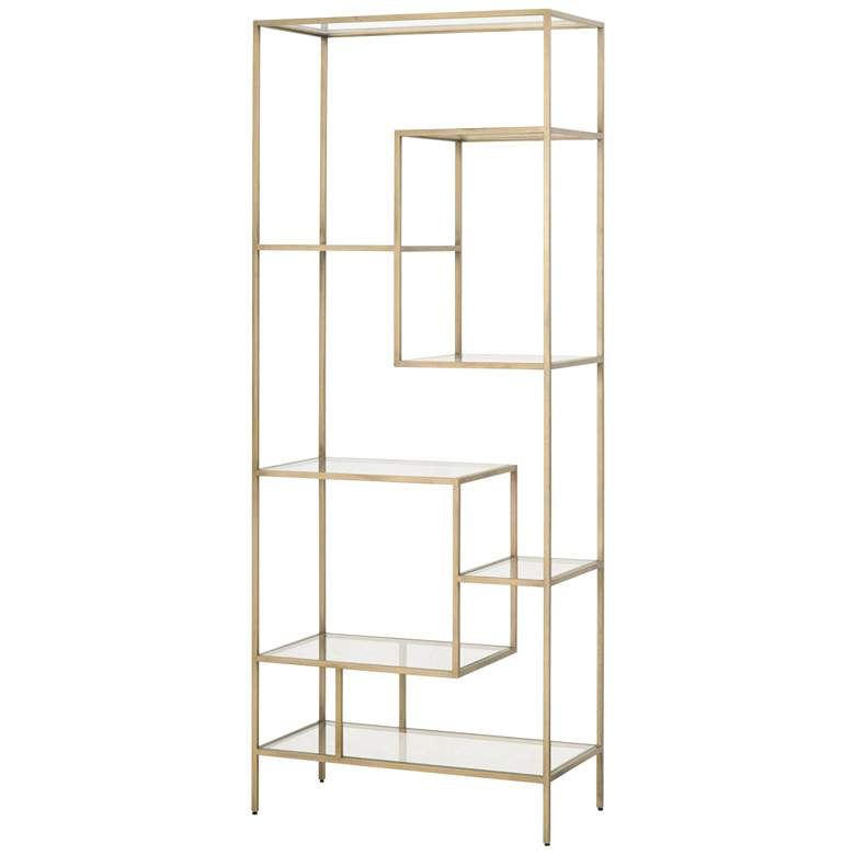 "Beakman 31 1/2"" Wide Brass Metal and Glass 7-Shelf Bookcase"