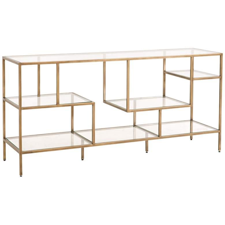 "Beakman 59"" Wide Brass Metal and Glass 4-Shelf Low Bookcase"