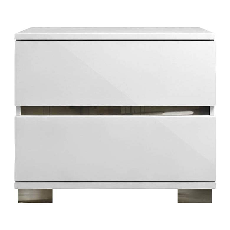 """Icon 27"""" Wide Gloss White Wood 2-Drawer Nightstand"""