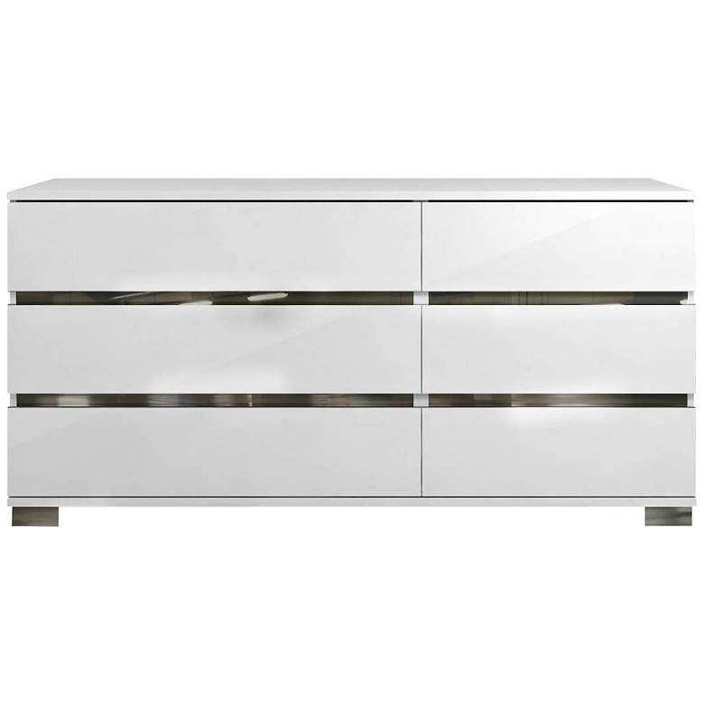 """Icon 68 1/2"""" Wide Gloss White Wood 6-Drawer Double Dresser"""
