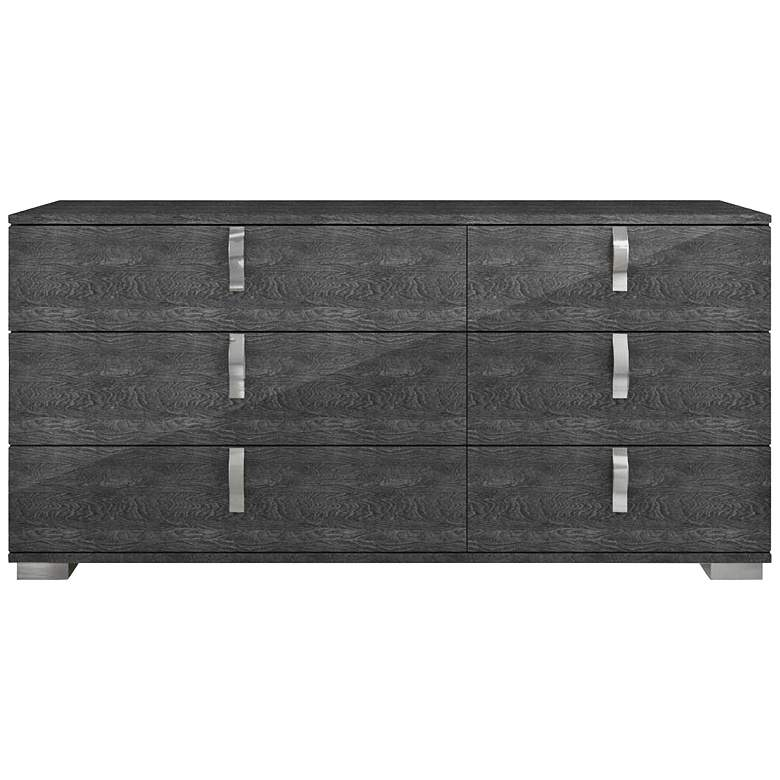 "Noble 68 1/2"" Wide Gloss Gray Wood 6-Drawer Double Dresser"