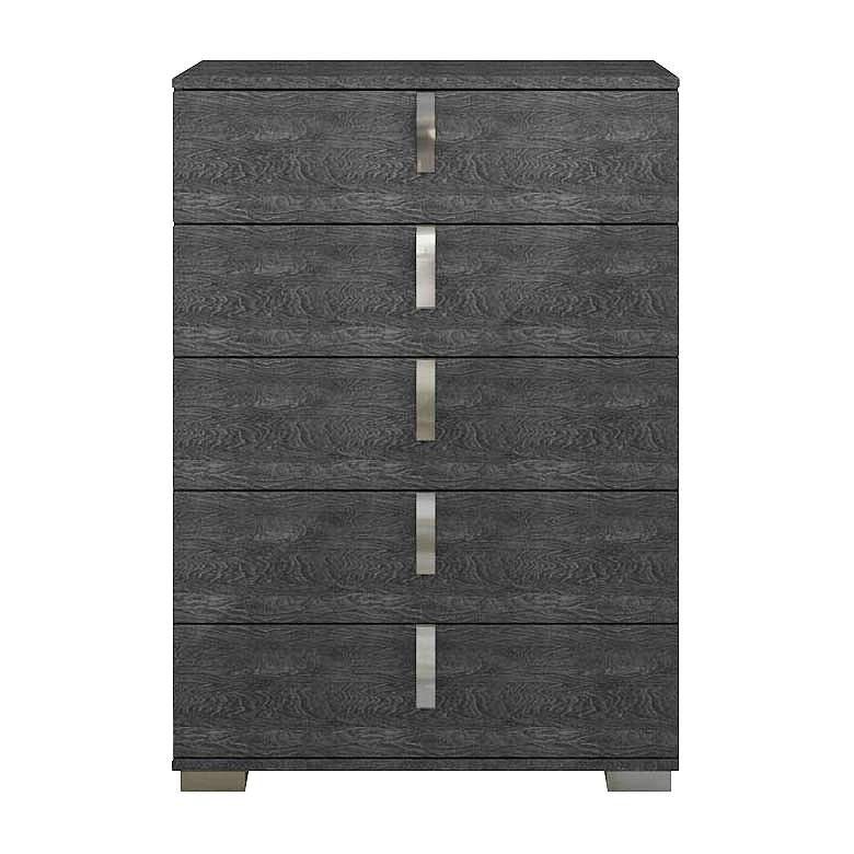 "Noble 36"" Wide Gloss Gray Wood 5-Drawer High"