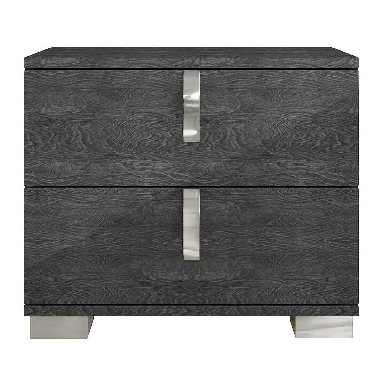 "Noble 27"" Wide Gloss Gray Wood 2-Drawer Nightstand"