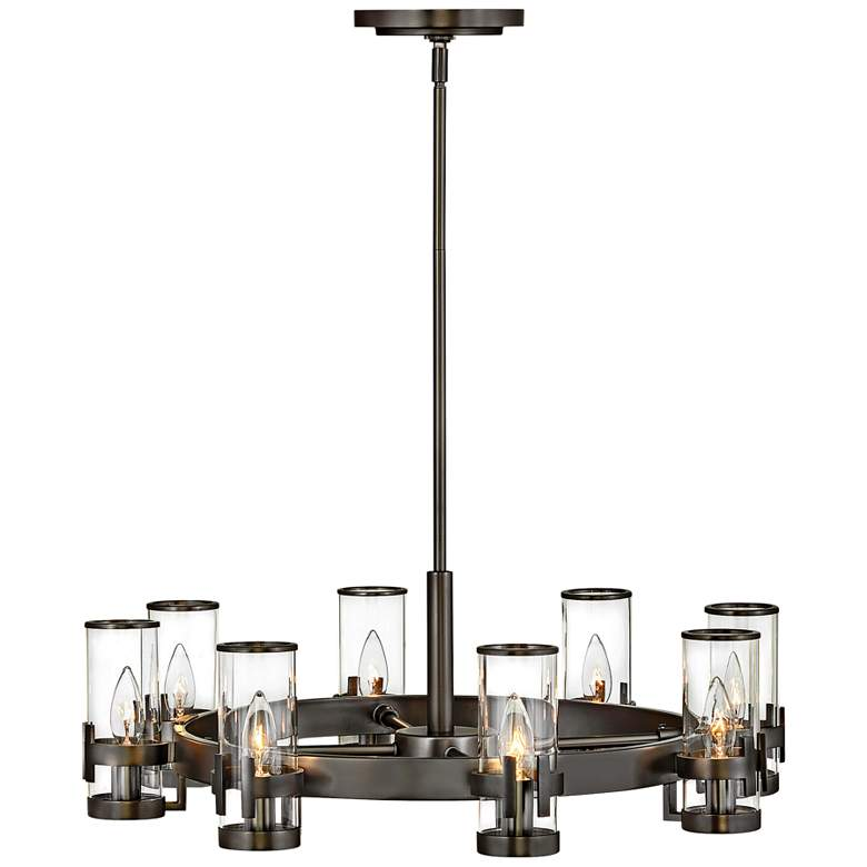 "Hinkley Reeve 27"" Wide Black Oxide 8-Light Ring Chandelier"