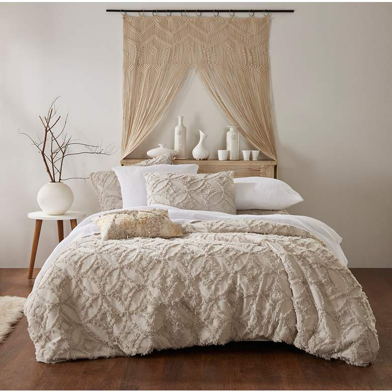 Madison Natural Tufted Fabric Queen Duvet Cover