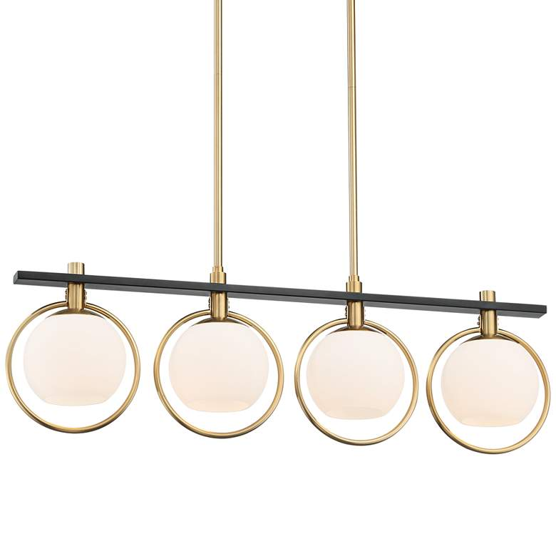 """Carlyn 33"""" Wide Brass and Black 4-Light LED Island Pendant"""