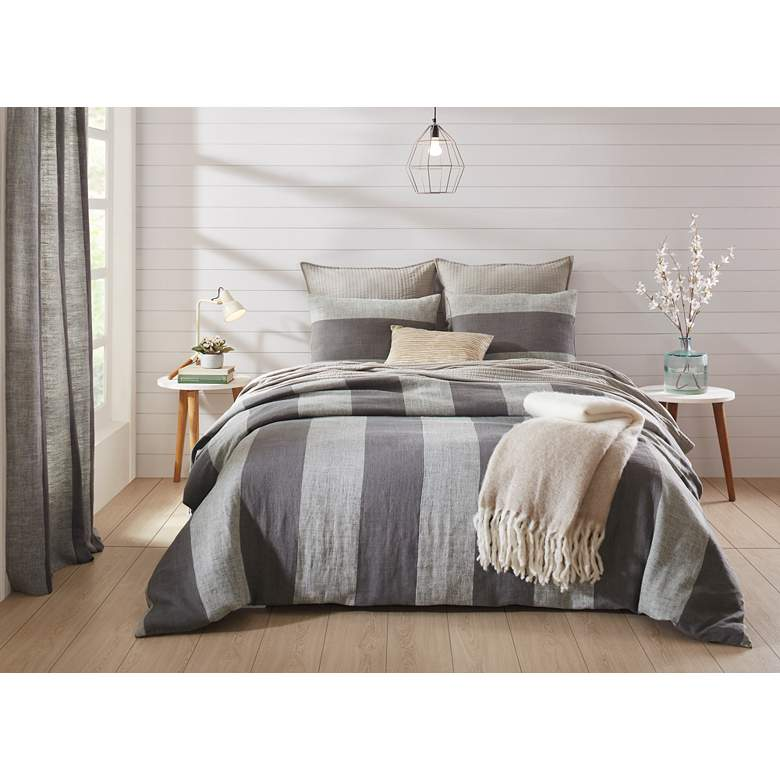 Riviera Taupe Gray Linen Stripes Queen Duvet Cover