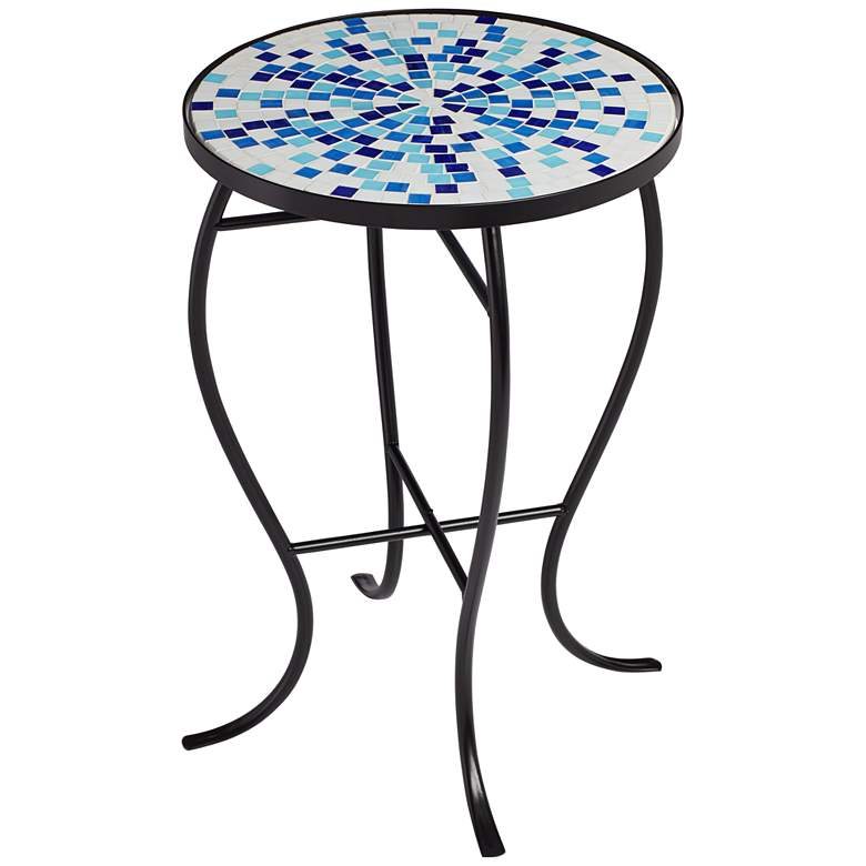 Multi Blue Mosaic Black Iron Outdoor Accent Table