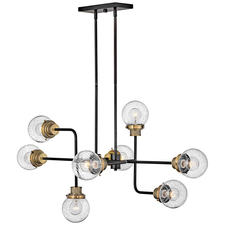 "Hinkley Poppy 45"" Wide Black 8-Light Sputnik Pendant"