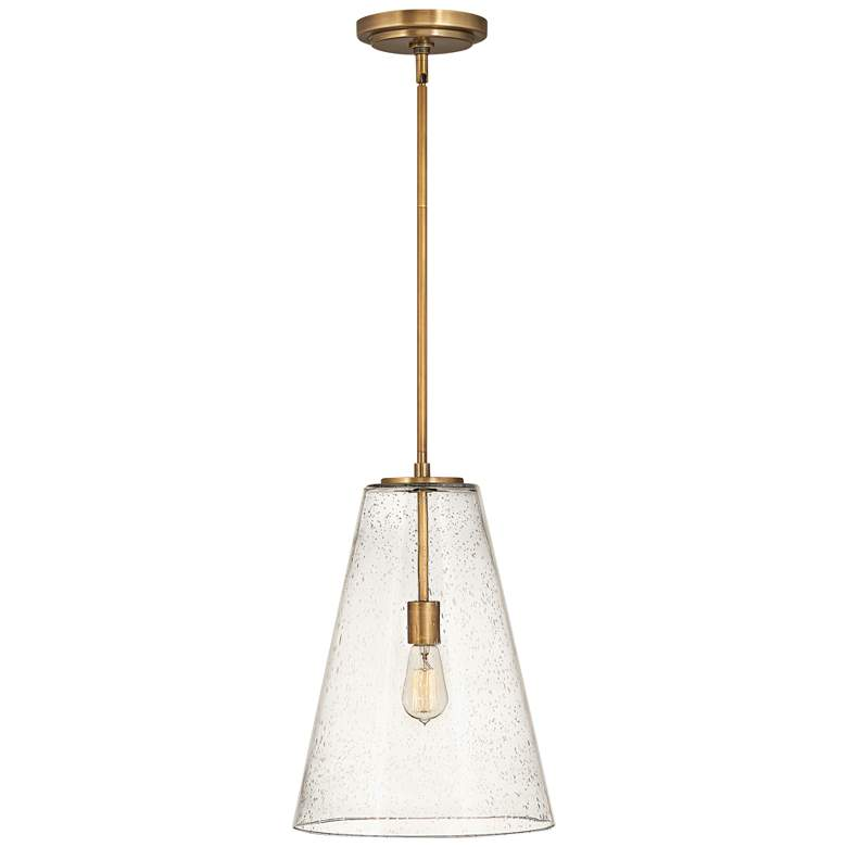 "Hinkley Vance 13""W Heritage Brass and Glass Pendant Light"