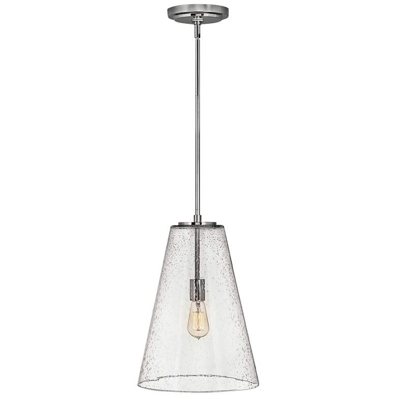 "Hinkley Vance 13""W Polished Nickel and Glass Pendant"