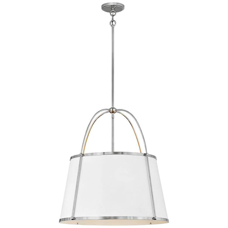 """Clarke 24 1/2"""" Wide Polished Nickel and White Pendant Light"""