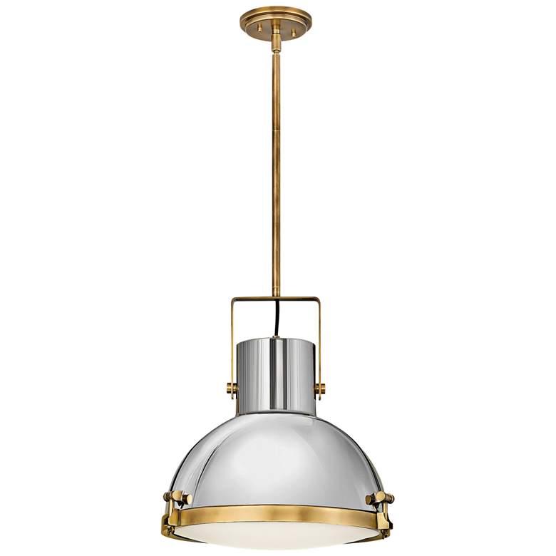 "Nautique 18"" Wide Heritage Brass and Nickel Pendant Light"