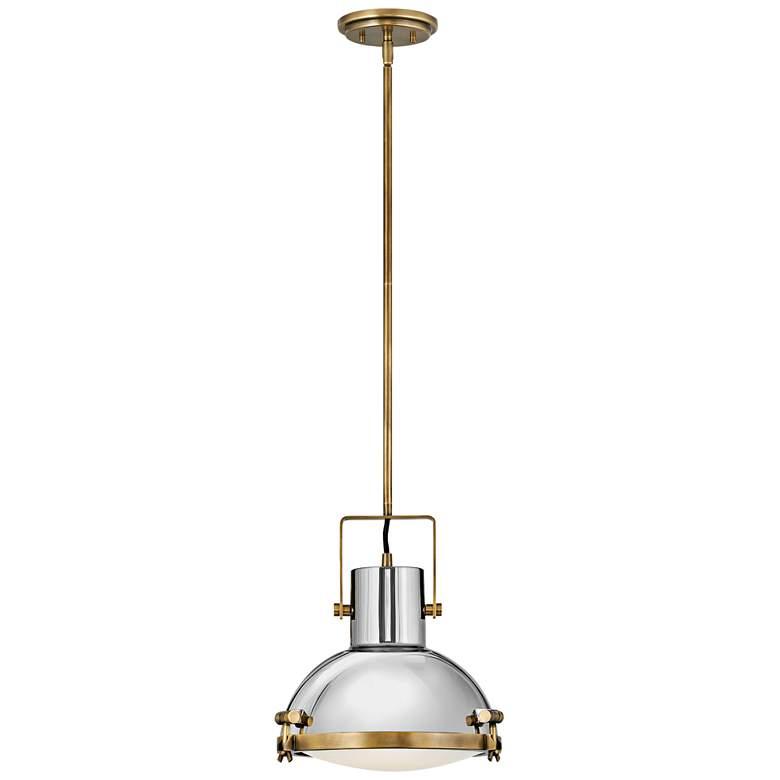"Nautique 13"" Wide Heritage Brass and Nickel Pendant Light"