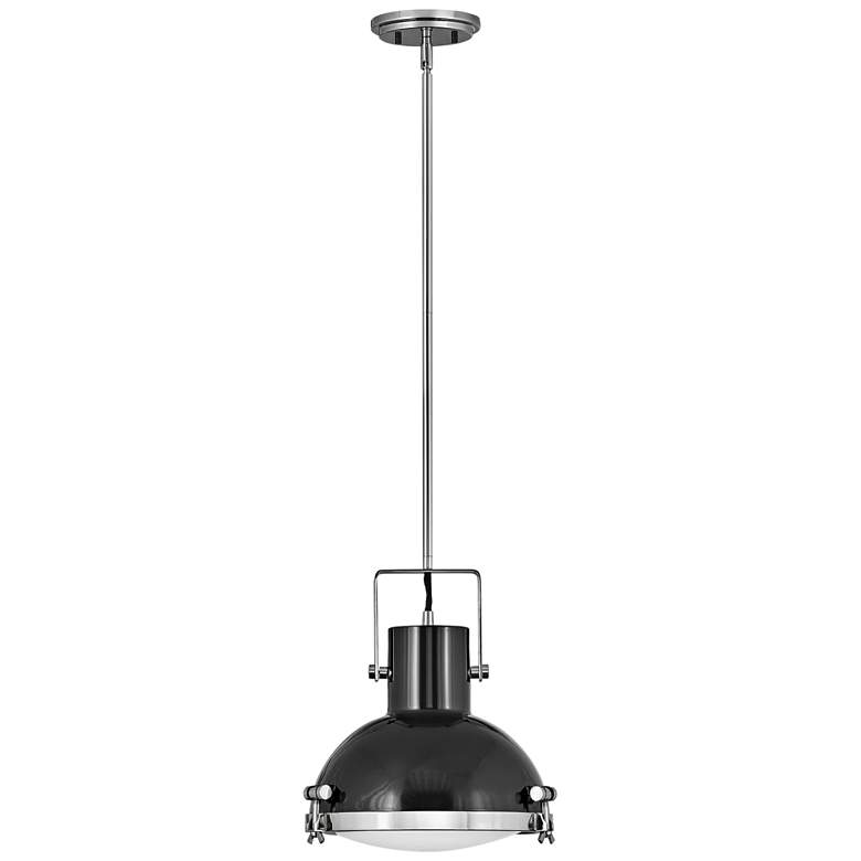 """Nautique 13""""W Polished Nickel and Gloss Back Pendant Light"""