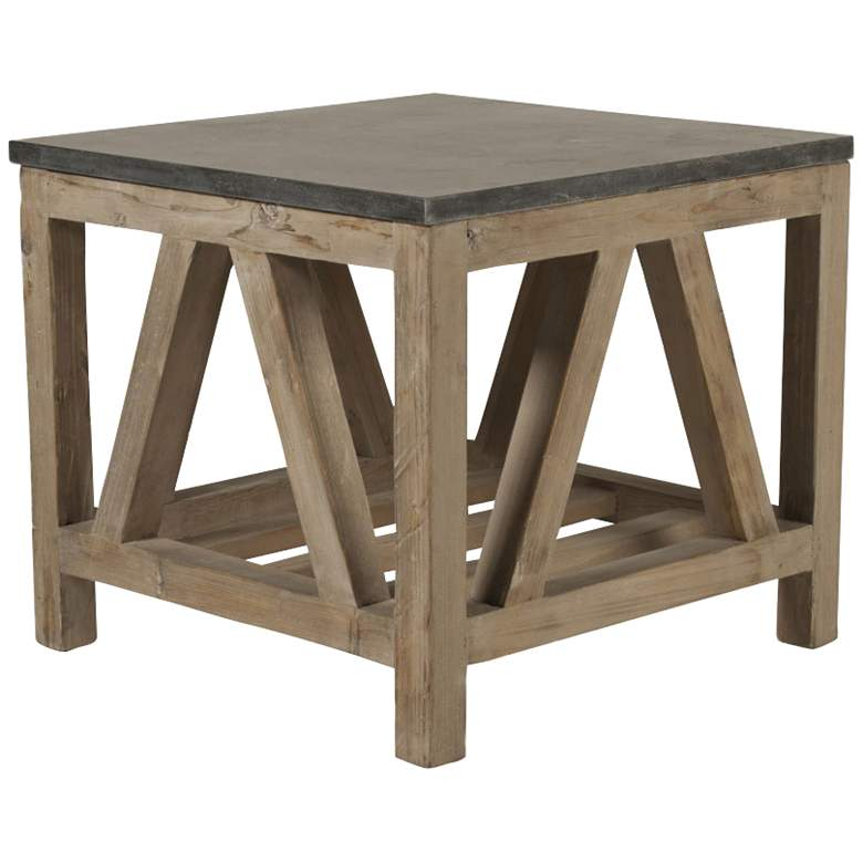 """Blue Stone 25"""" Wide Smoke Gray Wood Square End Table"""