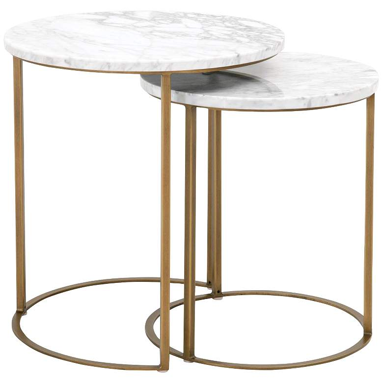 """Carrera 21""""W White and Gold Nesting Accent Tables Set of 2"""