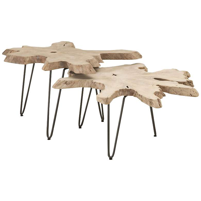"""Drift 39""""W Gray Wood Outdoor Nesting Coffee Tables"""