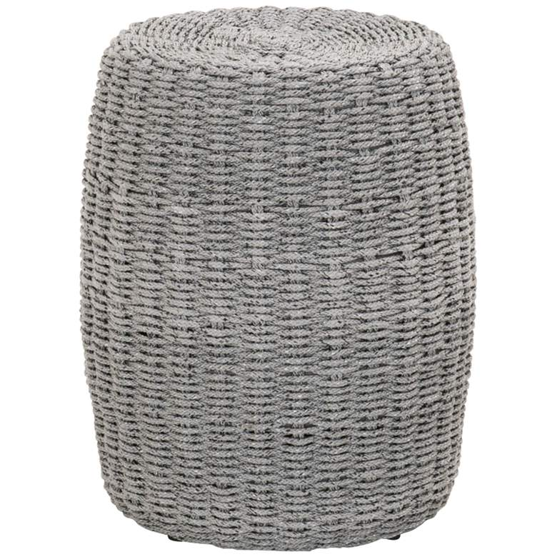 """Loom 16 1/2"""" Wide Platinum Rope Round Outdoor Accent Table"""