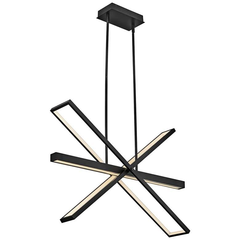 """Hinkley Tangent 36"""" Wide Black 4-Light LED Pendant Light"""