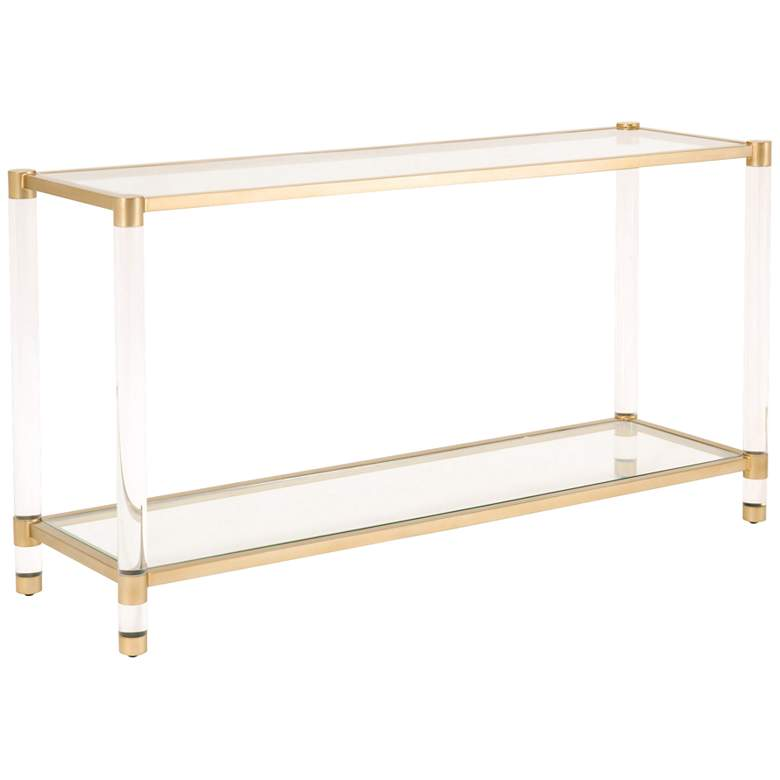 """Nouveau 58""""W Tempered Glass and Brass 1-Shelf Console"""
