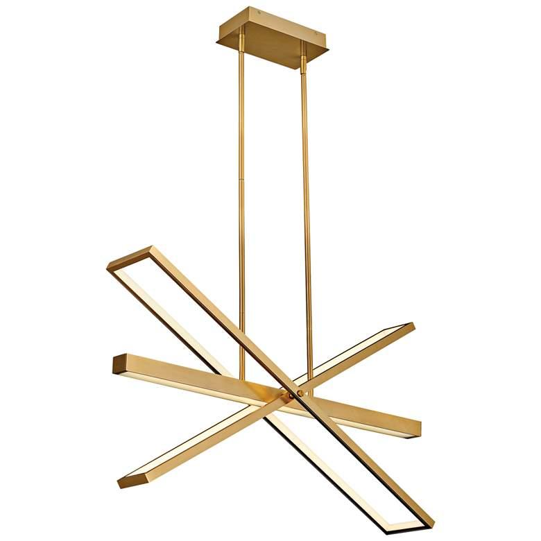 "Tangent 36"" Wide Lacquered Brass 4-Light LED Pendant Light"