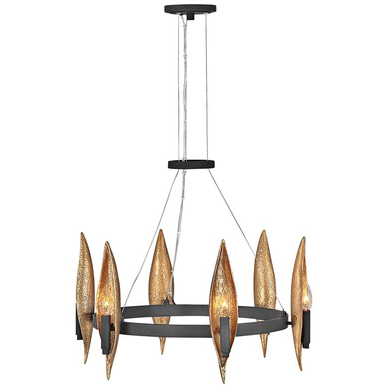 "Hinkley Willow 24"" Wide Carbon Black 6-Light Ring Chandelier"