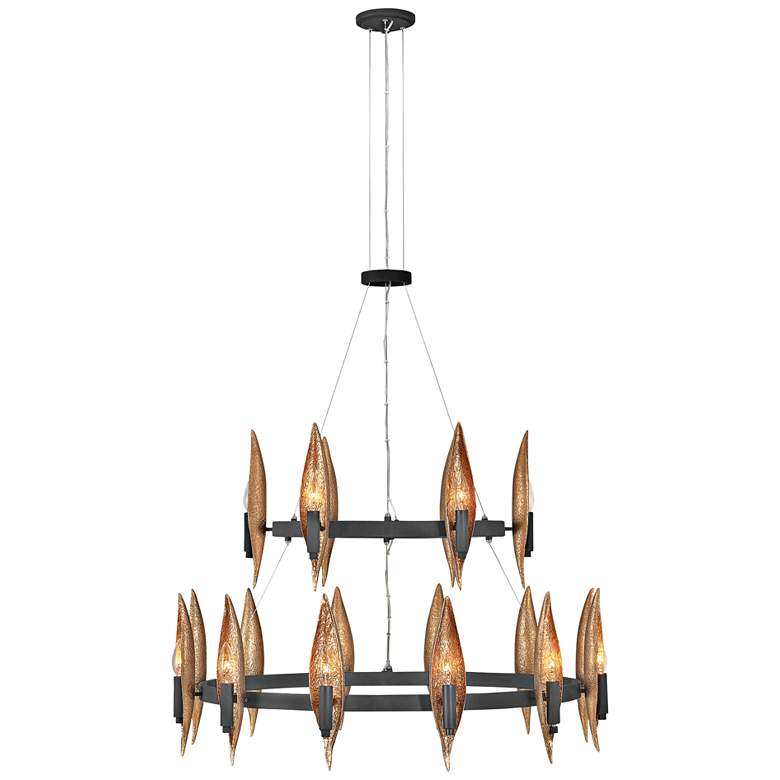 "Hinkley Willow 36""W Carbon Black 18-Light Ring Chandelier"