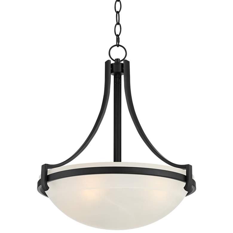 "Marmelized 20"" Wide Black Marbleized Glass Bowl Pendant Light"
