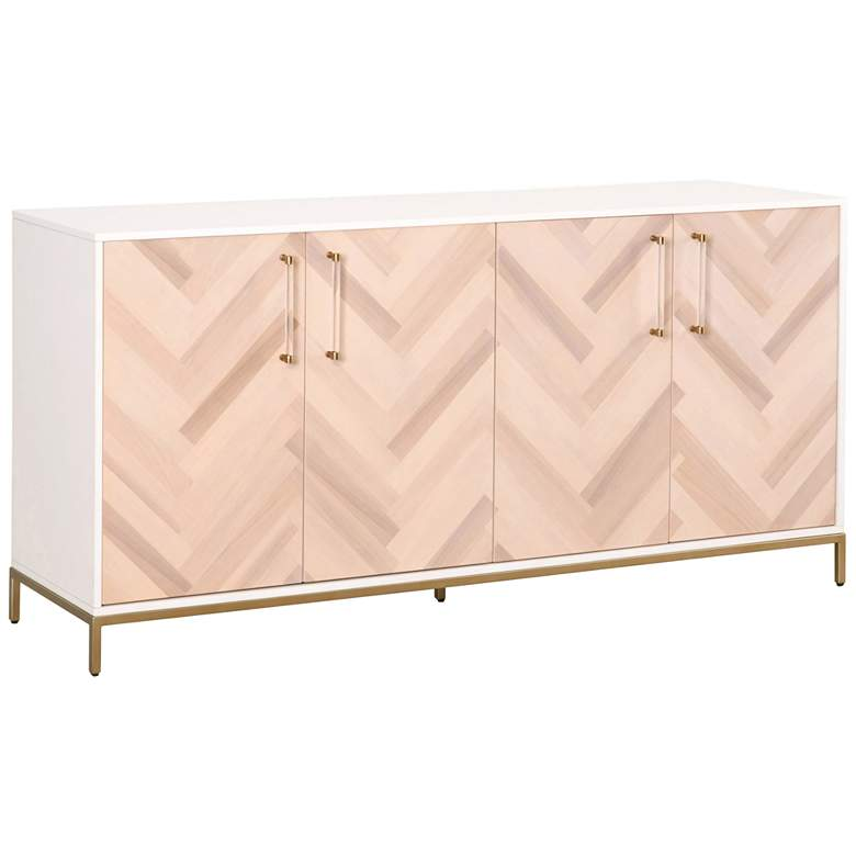 "Nouveau 71 1/4""W Matte White Wood 2-Cabinet Media"