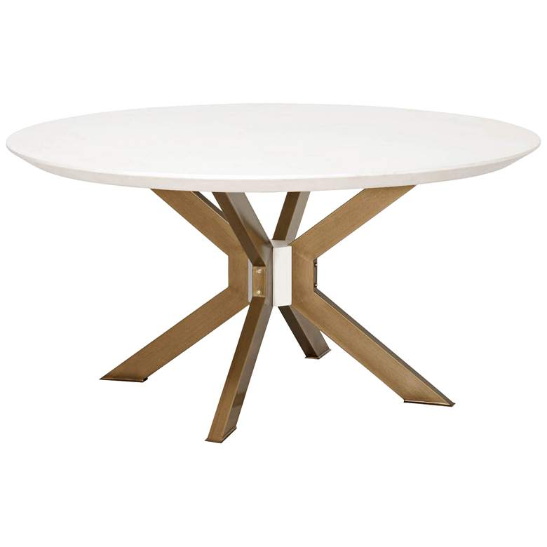 """Industry 60"""" Wide Ivory and Brass Round Dining Table"""