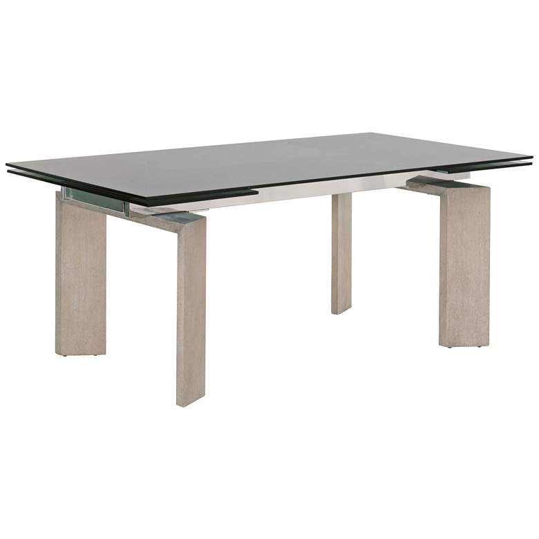 "Jett 106 1/2"" Wide Smoke Gray Glass Extendable Dining Table"
