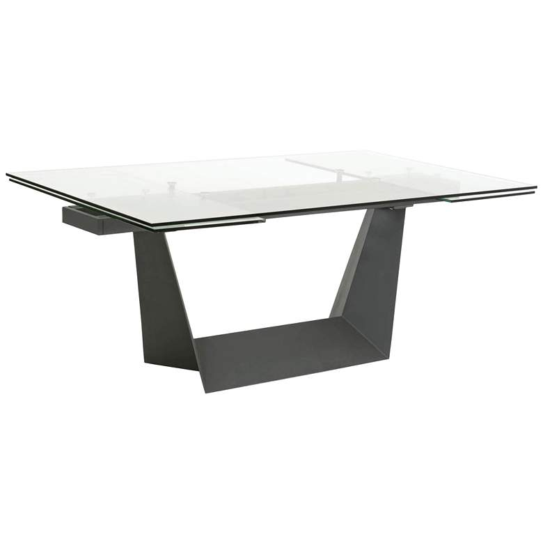 """Victory 106 1/2""""W Matte Dark Gray Extendable Dining Table"""