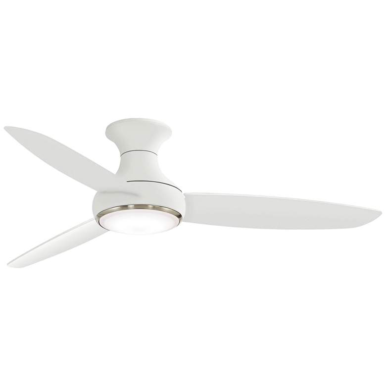 "54"" Concept III White Hugger Smart Fan LED Wet Ceiling Fan"