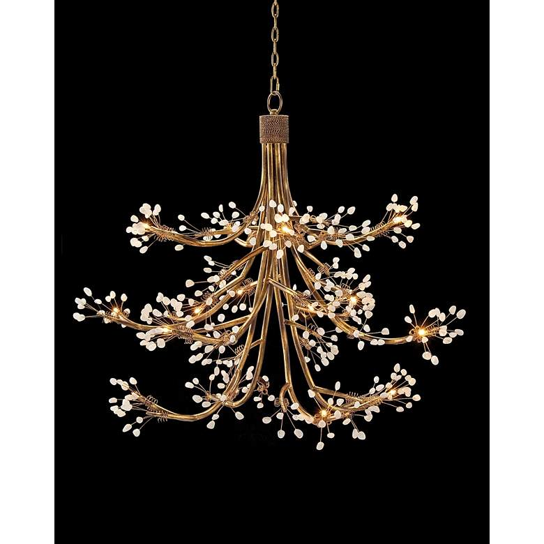 "John Richard 50"" Wide Antique Gold Buds 16-Light Chandelier"