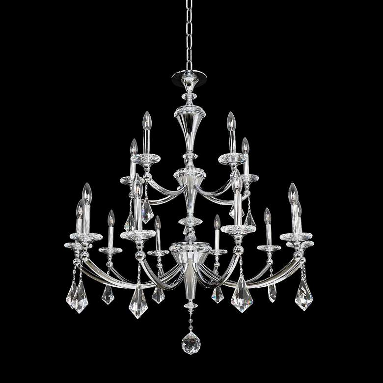 "Allegri Floridia 37"" Wide Gold 15-Light 2-Tier Chandelier"