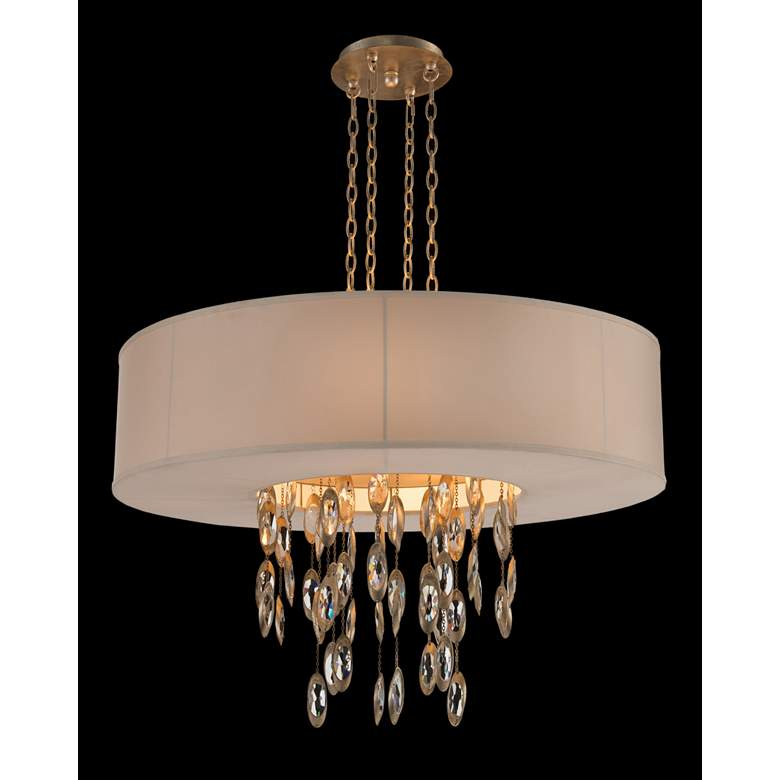 """Counterpoint 36""""W Gold Cool White Drum Pendant Chandelier"""