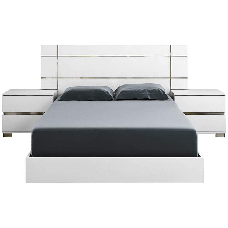 Icon High Gloss White Queen Platform Bed