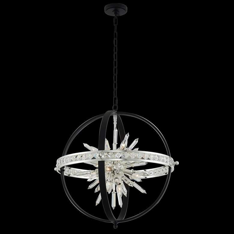 "Angelo 26""W Black Silver 10-Light Crystal Orb Pendant Light"