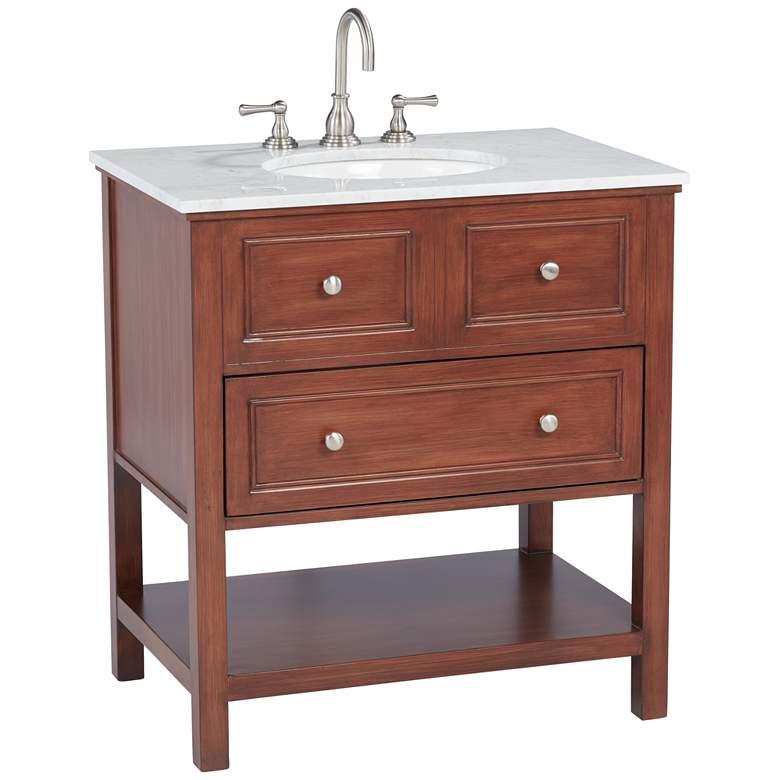 """Jordan 32"""" Wide 1-Drawer Teak Wood Single Sink Vanity"""