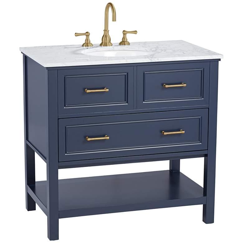 """Bruce 36 1/4"""" Wide 1-Drawer Blue Teak Wood Single Sink Vanity"""